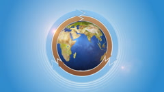 Orbiting Globe With Three Cycle Arrows Stock Footage