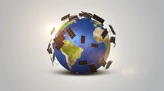 Solar Panel Technology On Orbiting Earth Stock Footage