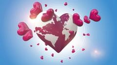 Heart Symbols Rotating Around Globe Stock Footage