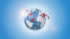 Red Planes Traveling Around The Blue Earth Stock Footage