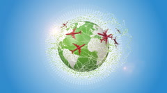 Red Planes Traveling Around The Green Earth Stock Footage