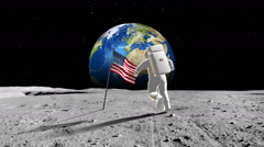 American Astronaut Walking On A Planet Stock Footage