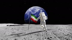 Iranian Astronaut Walking On A Planet Stock Footage