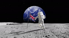 British Astronaut Walking On A Planet Stock Footage