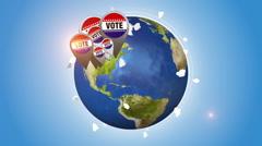 Vote Badges On Orbiting Globe Stock Footage