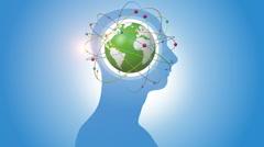 Orbiting Blue Globe Inside Of Human Head Stock Footage