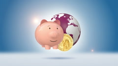 Dollar Coins Orbiting Around Globe And Piggy Bank Stock Footage