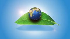 Orbiting Globe On A Green Leaf Stock Footage