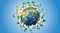Green leaves rotating around orbiting globe Stock Footage