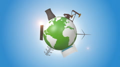 Orbiting Earth Covered By Energy Production Facilities Stock Footage