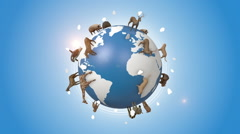 Orbiting Earth Covered By Wild Animals Stock Footage