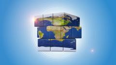 Blue Globe Shaped Intelligence Cube Stock Footage