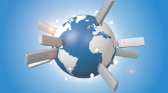 USB Flash Drives Plugged Into Blue Earth Stock Footage