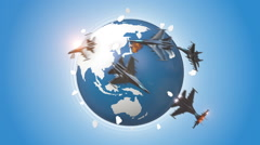 Fighter Jets Attacking To The Earth. Stock Footage