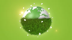 Green Grass Covering Half Of Orbiting Globe Stock Footage