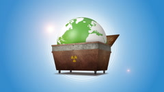 Orbiting Globe In The Radioactive Dump Stock Footage