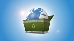 Orbiting Earth In The Recycling Bin Stock Footage