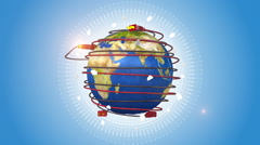 Orbiting Earth Surrounded By Red Power Cords Stock Footage