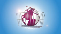 Orbiting Globe In A Shopping Basket Stock Footage