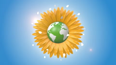 Orbiting Globe Inside Of A Sunflower Stock Footage