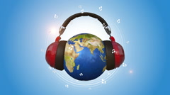 Earth Listening Music With Red Headphones Stock Footage