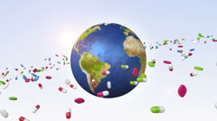 Medicine Pills Orbiting Around Earth Stock Footage