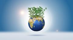 Green Plants On Orbiting Earth Stock Footage