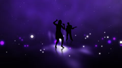 Pop star singing and dancing on abstract stage Stock Footage