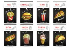 Fast food menu price poster with description Stock Illustration