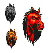 Horse stallion head and mane heraldic emblem Stock Illustration