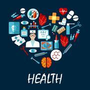 Medical symbols poster in heart shape Stock Illustration