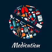 Medication poster with icons in pill shape Stock Illustration