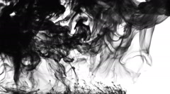 Black Ink Explosion On White Background Stock Footage