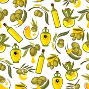 Green olives branches and olive oil background Stock Illustration