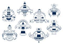 Lighthouse. Yacht Club emblem. Nautical badge Piirros