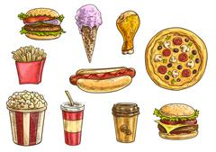 Fast food snacks and drinks icons sketch set Piirros