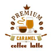 Premium coffee latte caramel icon Stock Illustration