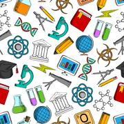 Science and knowledge seamless wallpaper Stock Illustration