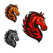 Horse stallion heraldic vector icons Stock Illustration