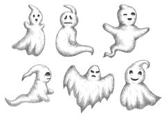 Cartoon halloween funny ghots icons Stock Illustration