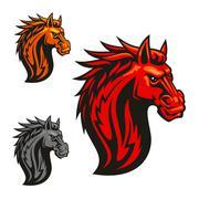 Fierce horse head chess stylized emblems Stock Illustration