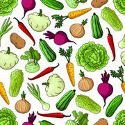 Vegetables background. Seamless pattern wallpaper Stock Illustration