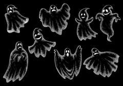 Halloween funny ghosts cartoon chalk icons Stock Illustration