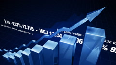 3d bar charts and financial figures cg animation Stock Footage