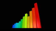 3d colorful bar charts moving up Stock Footage