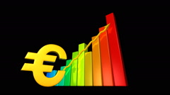 Euro currency value increasing. Stock market animation. Stock Footage