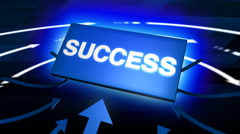 Arrows indicating success word with rotating arrows. Stock Footage