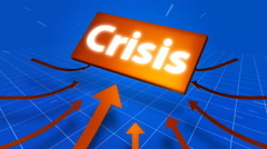 Arrows indicating crisis symbol on blue background. Stock Footage