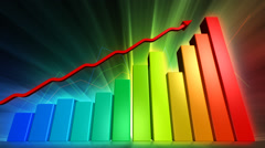Rising bar charts symbolizing business success Stock Footage