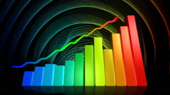 Stock market success animation with rising bar and line charts Stock Footage